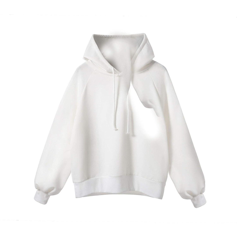 willwinWomen WillingStart Womens Pure Color Lantern Sleeve Hoodie Casual Sweatshirt