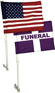 product image for Gettysburg Flag Works Set of 1 Funeral & 1 U.S. 8x12 Car Window Flags - Clips to Car Window - Durable, Double Sided All Weather Nylon - Flags Made in USA!