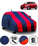 FABTEC Car Body Cover for Maruti Swift (2012-2017) with Mirror Antenna Pocket and Storage Bag (Red & Blue)