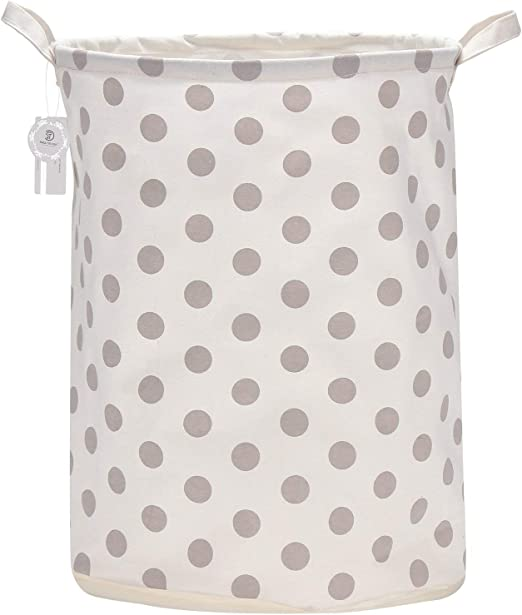 Sea Team 19.7 Inch Large Sized Waterproof Coating Ramie Cotton Fabric Folding Laundry Hamper Bucket Cylindric Burlap Canvas Storage Basket with Stylish
