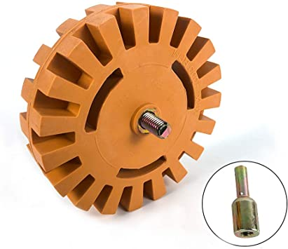 Decal Removal Eraser Wheel Power Drill Arbor Adapter 4 inch Rubber Pinstripe X