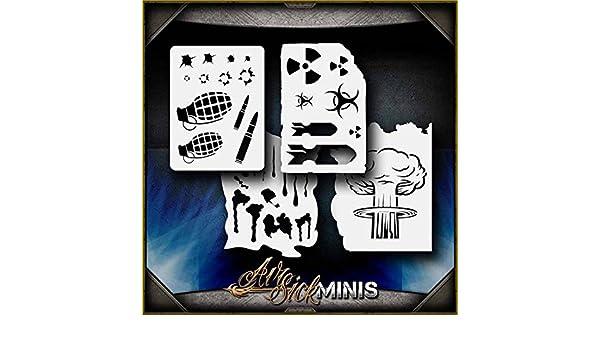 "/""Mini Warfare Set/"" Airbrush Stencil Template Airsick"