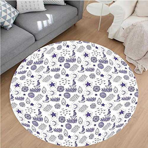 Porcello Waves (Nalahome Modern Flannel Microfiber Non-Slip Machine Washable Round Area Rug-nd Drawn Boat Stars Flying Gulls Crescent Moon Shell Waves Kids Girls Cute Pattern Purple area rugs Home Decor-Round 51