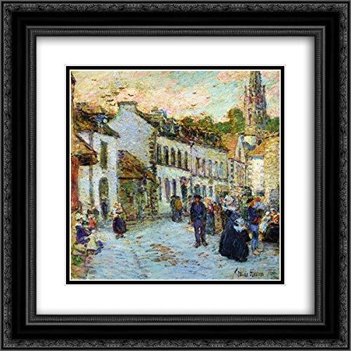 Childe Hassam 2X Matted 20x22 Black Ornate Framed Art Print 'an Evening Street Scene, Pont Aven' - Evening Street Scene