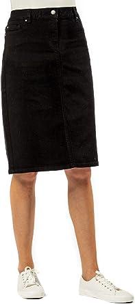 Roman Originals - Falda de mezclilla para mujer, 98% algodón, longitud de la rodilla, trabajo, escuela, oficina, día y noche, invierno, ropa elástica ...