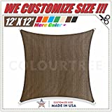 ColourTree 12′ x 12′ Sun Shade Sail Square Brown Canopy Awning Shelter Fabric Cloth Screen – UV Block UV Resistant Heavy Duty Commercial Grade Outdoor Patio Carport (CUSTOM SIZE AVAILABLE)