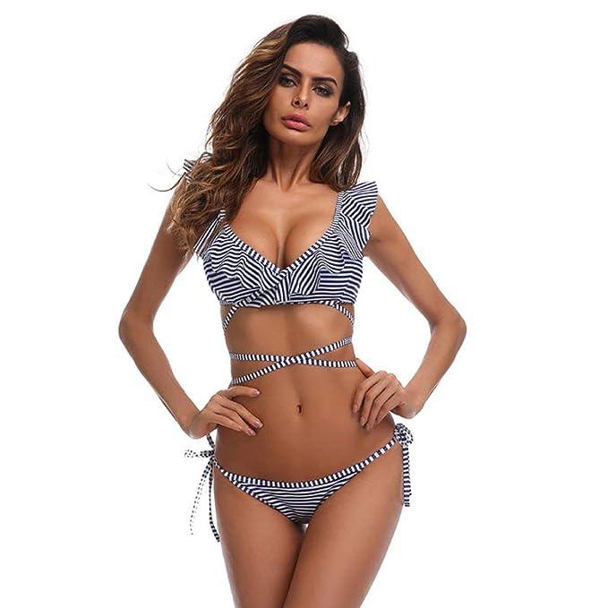 Costumi da bagno,Beauty Top Bikini fasciatura Sexy Brasiliana Donna Mare  imbottito Ruffle Push-