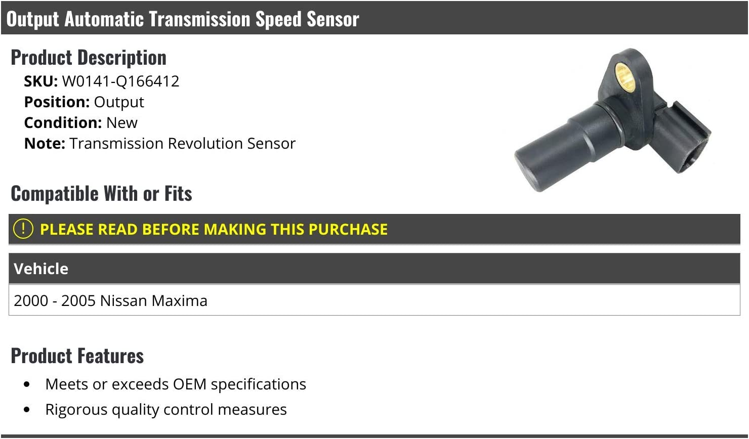 Automatic Transmission Output Speed Sensor Compatible with 2000-2005 Nissan Maxima