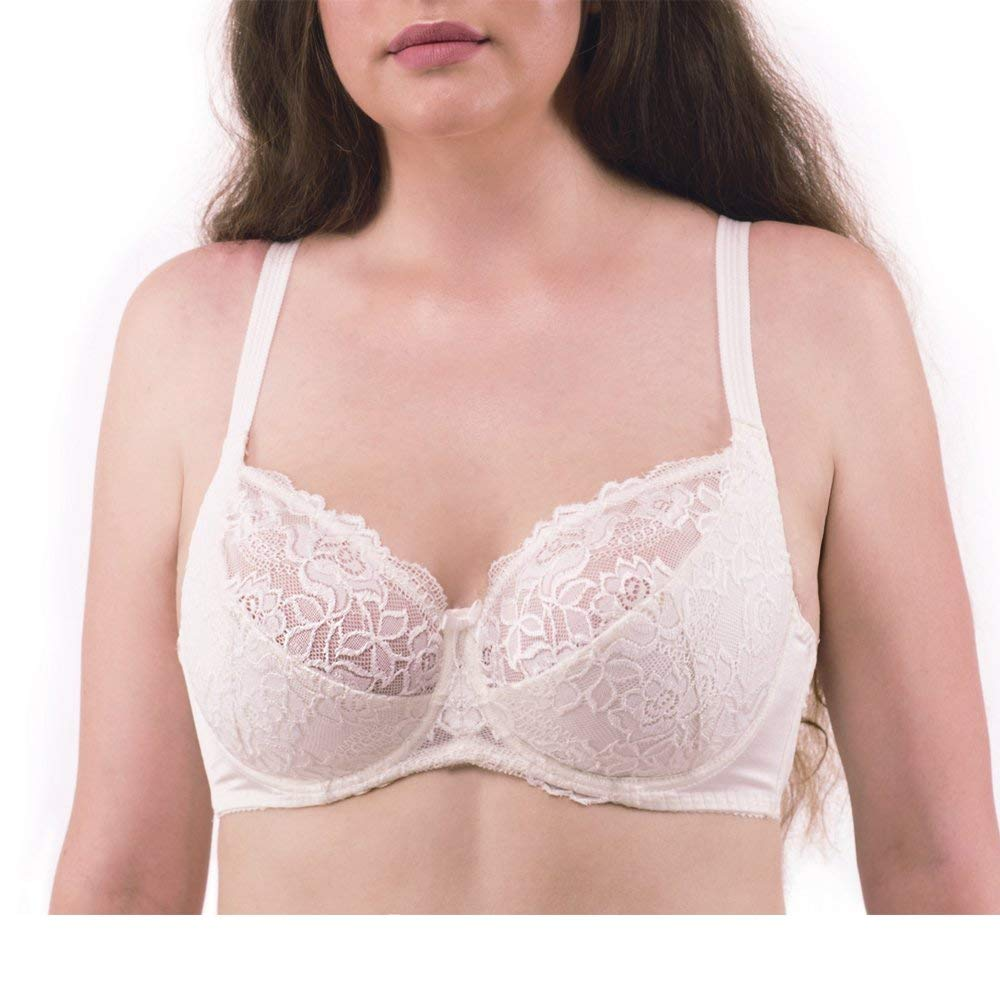 Adele's Dream Daisy Women's Plus Size Bras Lace Full Coverage Underwire Floral Lingerie - 36F Beige