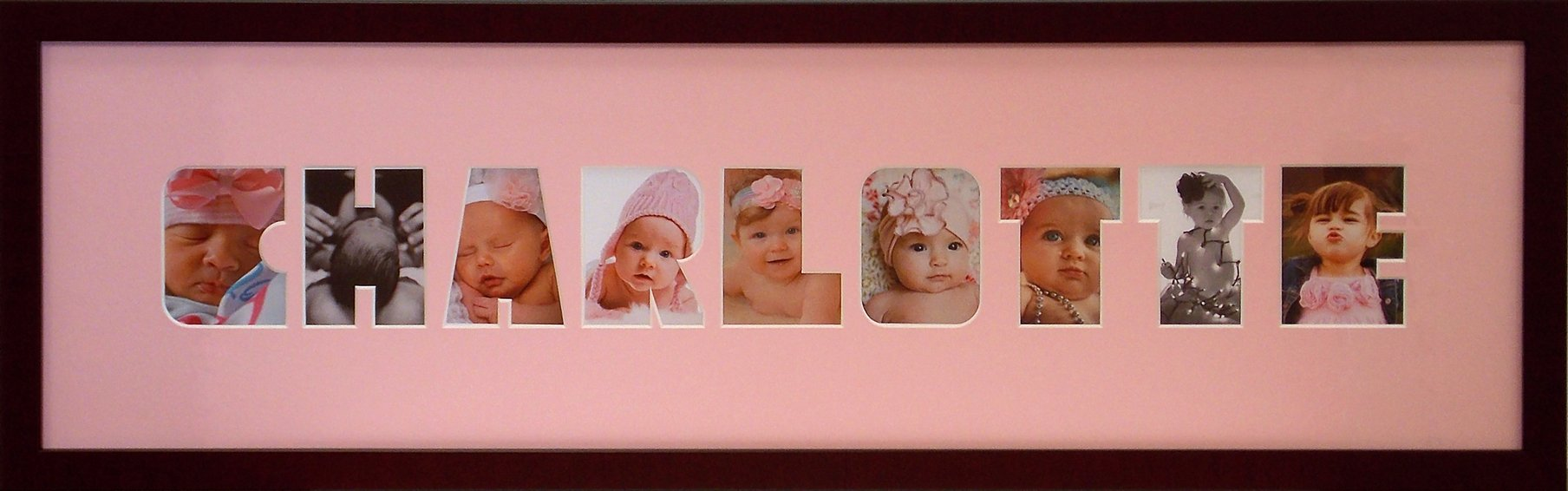 Baby Photo Name Collage Frame (Pink)