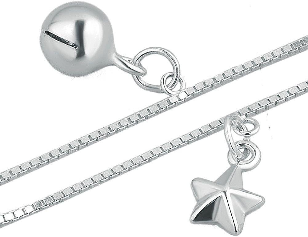 Uniqueen Tobillera de plata con forma de coraz/ón y cruz de estrella de mar