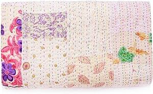 Handmade Vintage Khambadiya Print Hand Jari Patchwork King/Twin Size Embroidery Kantha Quilt Home Decorative Khambadiya Kantha Quilt Kantha Bedspread Indian Blanket Coverlet (White, 90