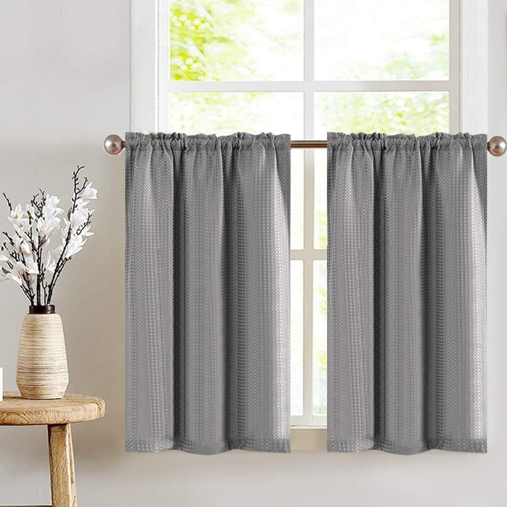 jinchan kitchen curtains waffle woven half window curtain for bathroom rod pocket kitchen window treatment set 36 by 36 inch 1 pair grey