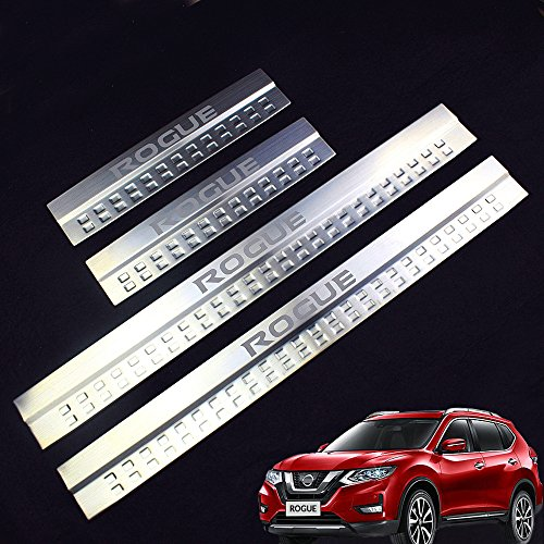 - Car Stainless Steel Door Sill Scuff Plate Fit for Nissan ROGUE 2014-2018