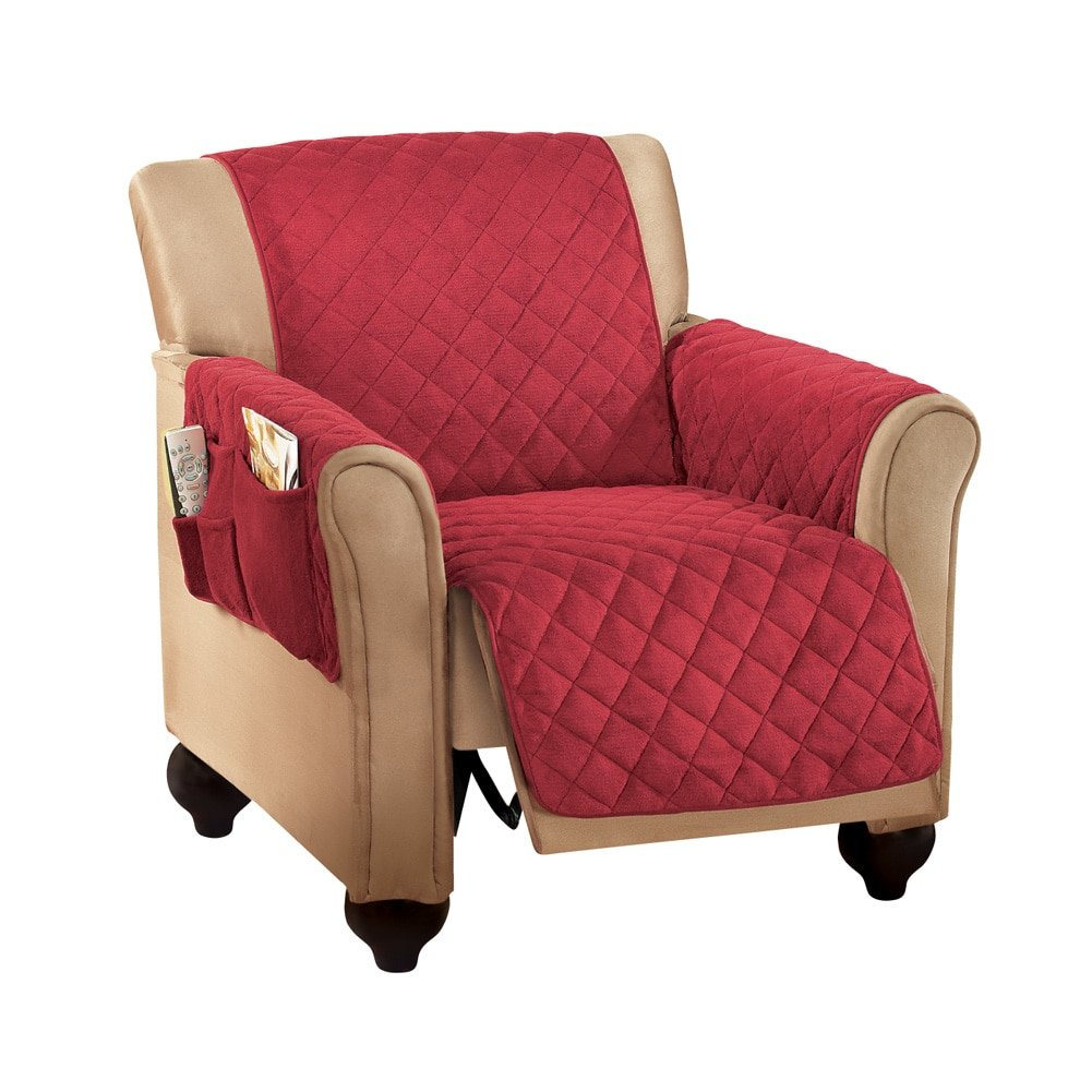 Genial Micro Fleece Recliner Quilted Chair Arm Cover Protector With Pockets  Burgundy