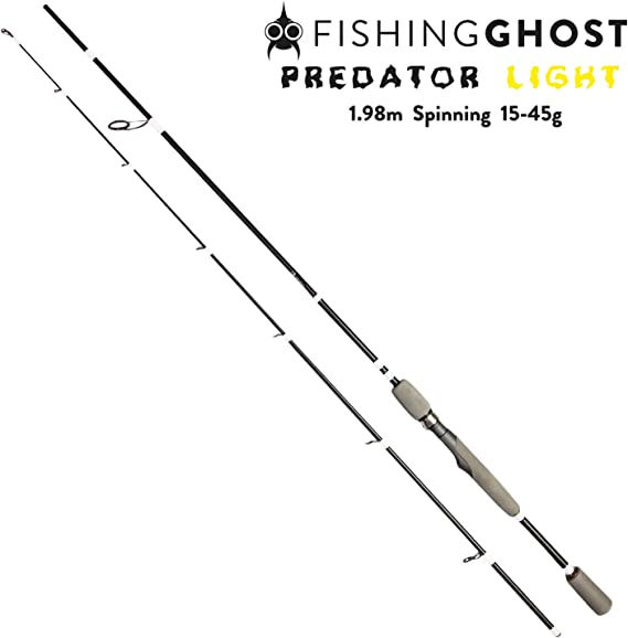 FISHINGGHOST® Predator Light Fishing rod 1,98m, 15 45g Fishing Rod Spinning Rod Direct power transmission for pike, pike perch, perch, trout,
