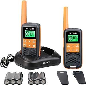 Retevis RT49 Walkie Talkie Rechargeable Long Range,Waterproof Two Way Radio Adult, NOAA AA Scan VOX Flashlight,for Outdoor Hike Hunting Travel(2 Pack)