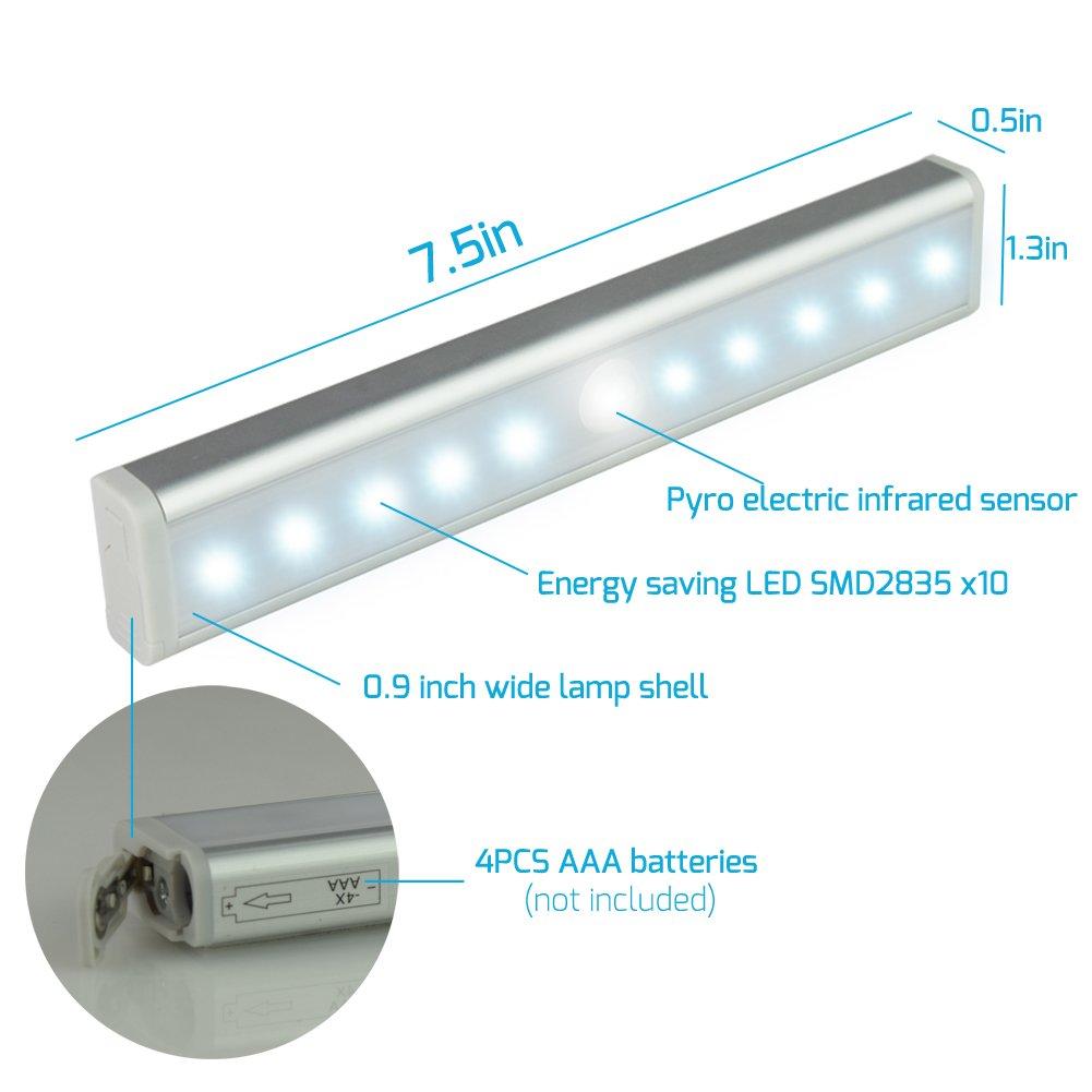 Inalámbrico de movimiento Sensor LED luz, stick-on en cualquier lugar portátil inalámbrico Led barra de luz, con tira magnética, 10super-bright LED, ...