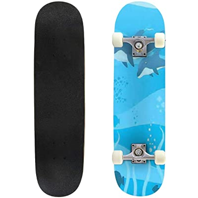 Classic Concave Skateboard Two Dolphins Swimming Under deep Water with Seven Fish in Different Longboard Maple Deck Extreme Sports and Outdoors Double Kick Trick for Beginners and Professionals : Sports & Outdoors