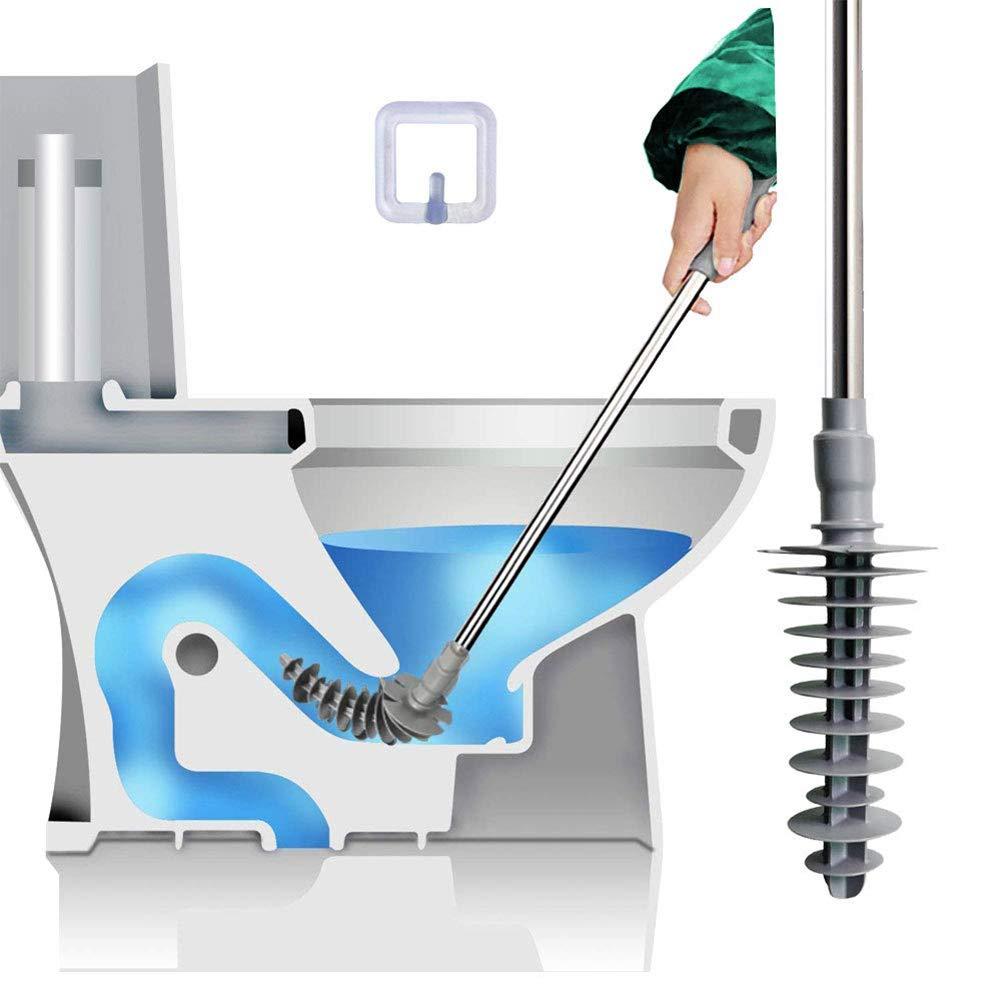 Nuovo Design a pistone Sgocciolatoio per WC Impugnatura in Gomma Flessibile Maniglia in Acciaio Inox Tolyneil Stantuffo WC Potente scovolino per Tubi purificato