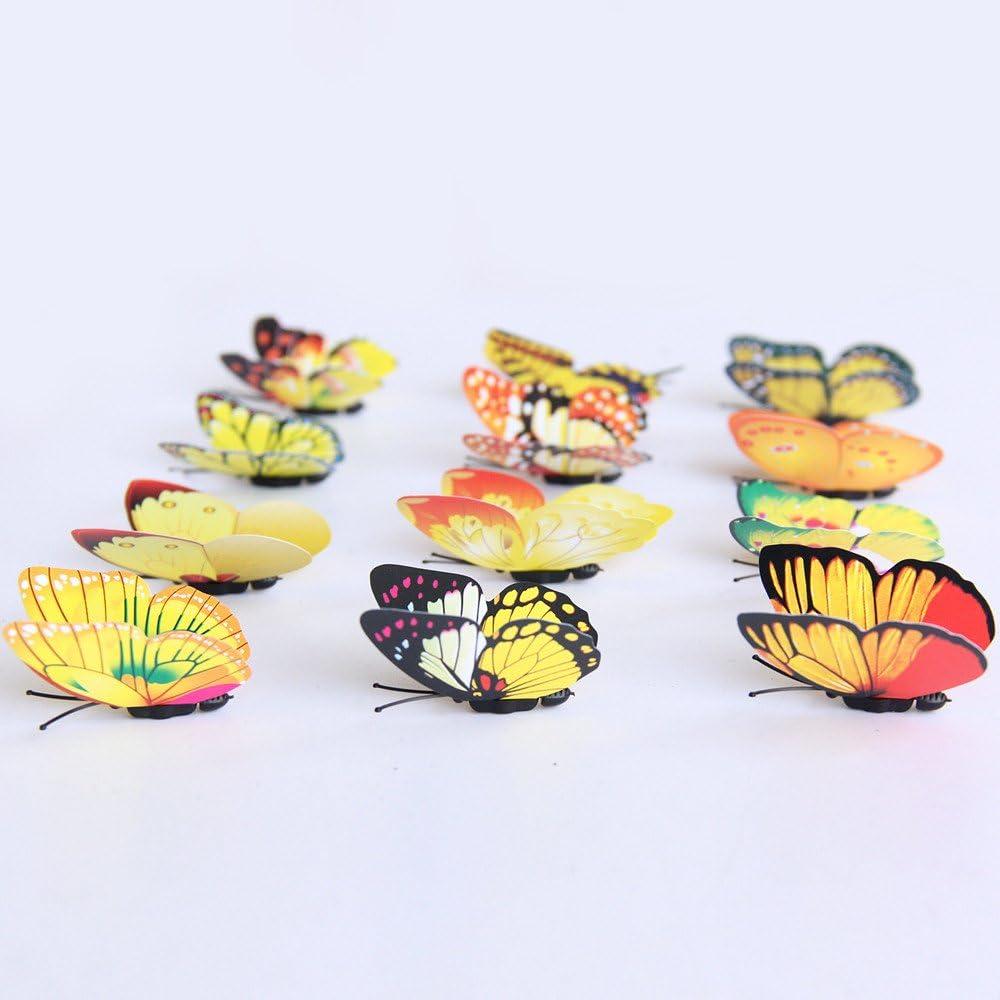 K/ühlschrankaufkleber K/üche Serria/® 3D DIY Aufkleber wandaufkleber wohnkultur Regenbogen Schmetterling Aufkleber raumdekor