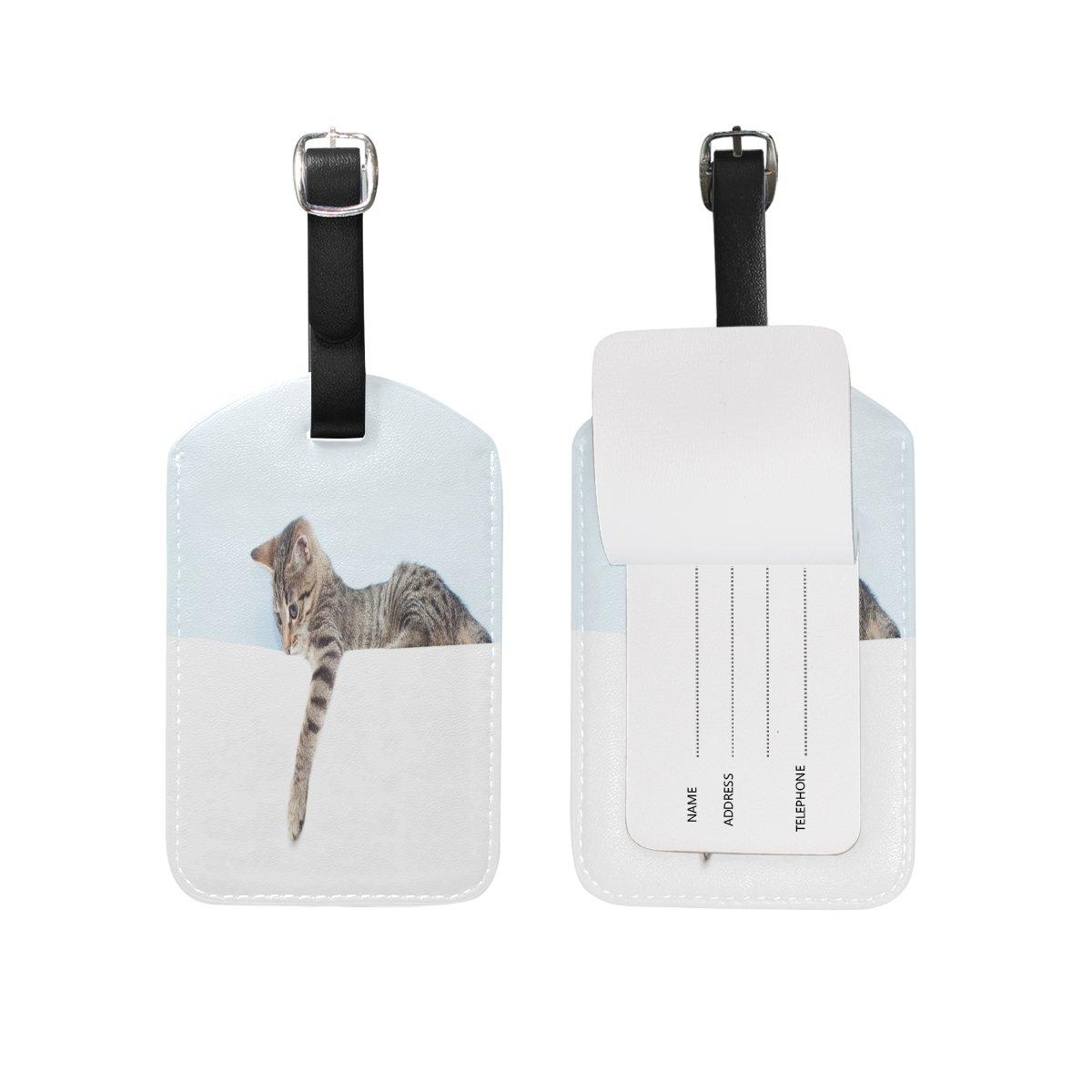 1Pcs Saobao Travel Luggage Tag Kitten Hold White Sheet PU Leather Baggage Suitcase Travel ID Bag Tag