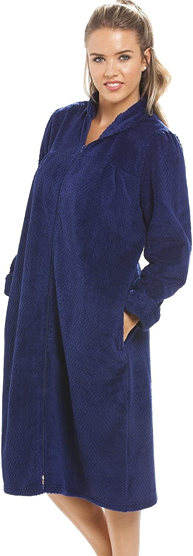 Camille Suave Vell/ón Azul Marino Cremallera Frente A La Casa Abrigo 46-48