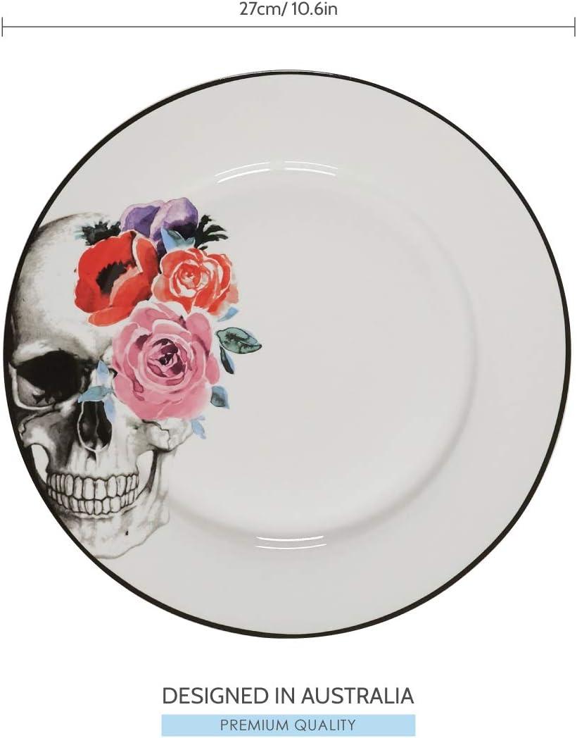 8 Floral Skulls Design Perfect for Halloween Set of 4 Porcelain Salad Plates by CIROA