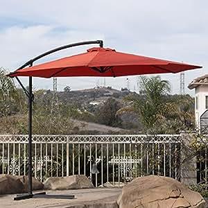 10'para colgar paraguas Patio resistente a los rayos UV, offset al aire libre w/Base Terra Cotta