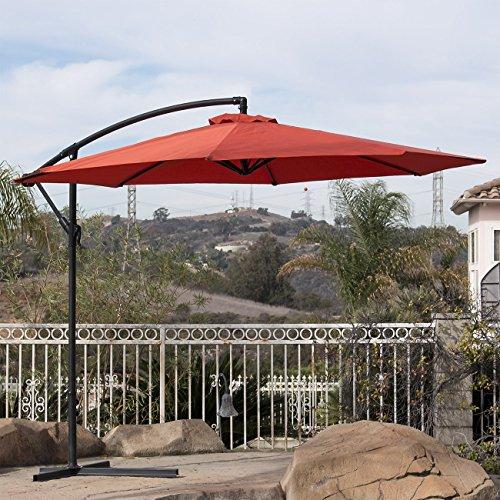 Belleze Outdoor Patio Umbrella UV Resistant Sun Tent Canopy Hand Crank Tilt Cantilever Octagonal Shape 10ft, Orange