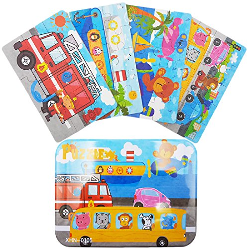(Zocita Children Wooden Jigsaw Puzzles, 4-Pack in an Iron Box for 2-3 Years Old Kids (Fire Engine))