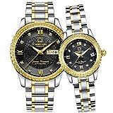 Swiss Brand Automatic Mechanical Watch Men Women Gold Silver Stainless Steel Luminous Waterproof Couple Watches (Silver Gold Black)