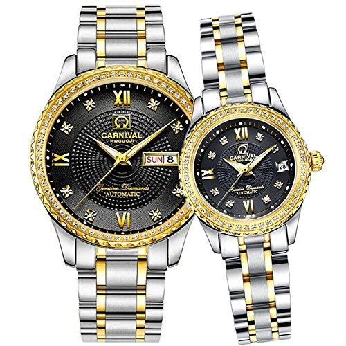 Swiss Brand Automatic Mechanical Watch Men Women Gold Silver Stainless Steel Luminous Waterproof Couple Watches (Silver Gold Black) by MASTOP