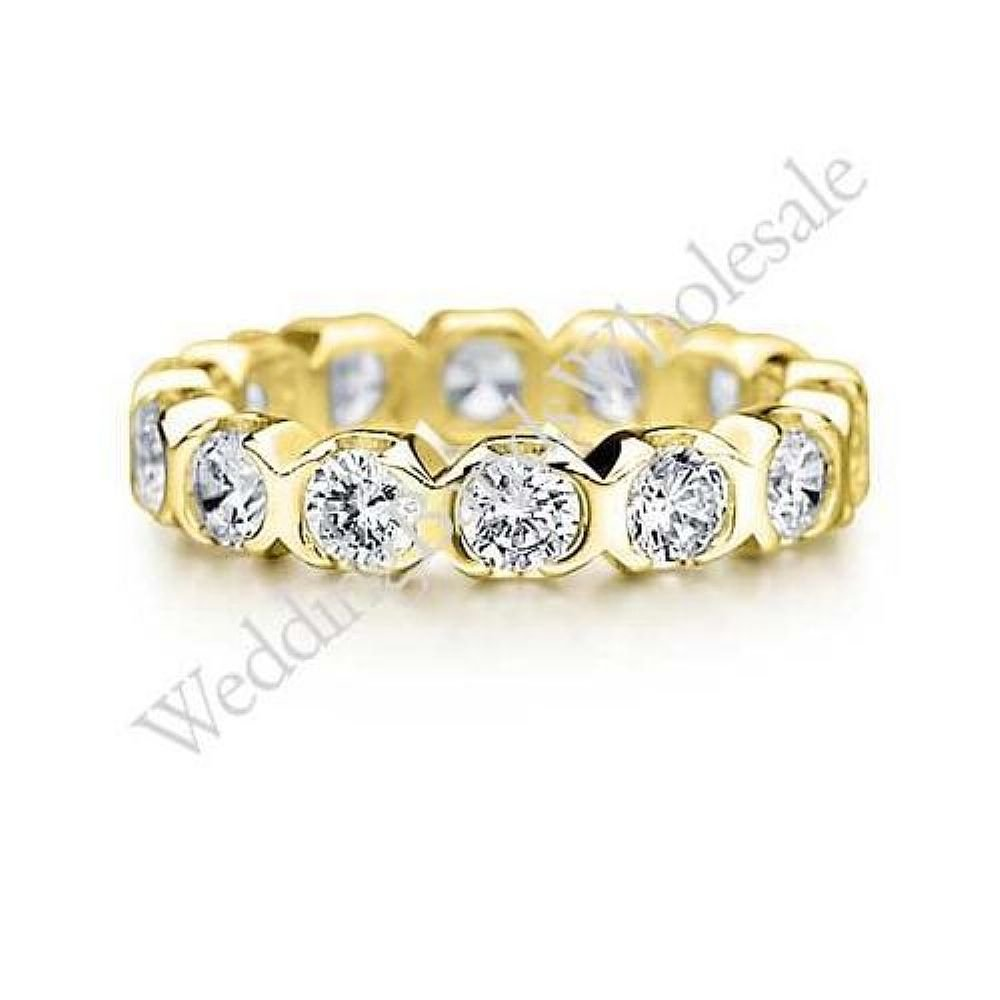 18K Gold 3mm Diamond Wedding Bands Rings 0902 - Size 11