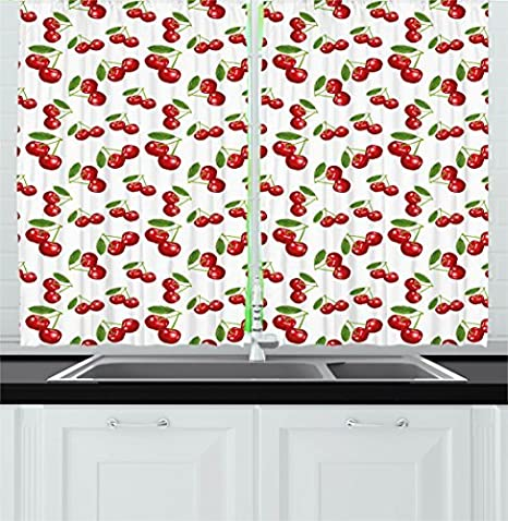 Amazon Com Ambesonne Fruit Kitchen Curtains Cherry Pattern Design Fresh Berry Summer Green Garden Macro Digital Print Window Drapes 2 Panel Set For Cafe Decor 55 X 39 Red White