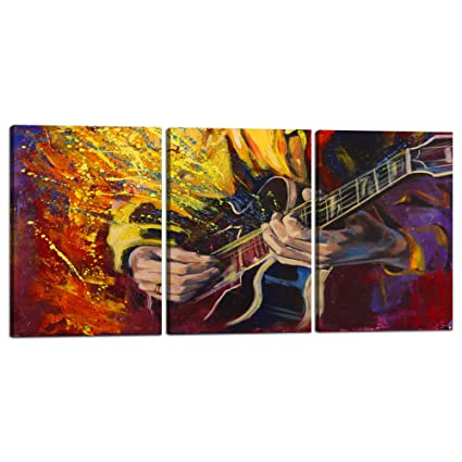 Guitar Wall Art Music Abstract Canvas Prints Home Decor Wall Decals For Living Room Bedroom Modern Pictures 3 Panel Posters Printed Painting Artwork