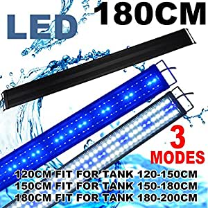 KZKR LED Aquarium Hood Lighting 72-78 inch Fish Tank Light Lamp for Freshwater Marine Saltwater Blue and White Decorations Light 6-7ft (34W)