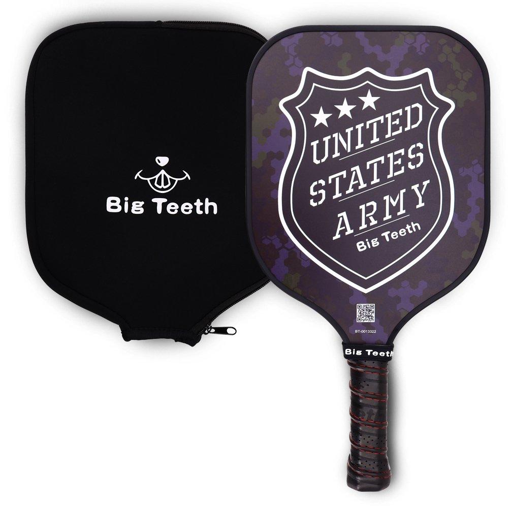 Big Teeth Camouflag Graphite Pickle Ball Paddle Pickleball Racket, PP Honeycomb Composite Core,Neoprene Racket Cover,USA Flag,Black/Camo