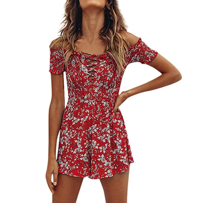 7cf43795371 Women s Sexy Off Shoulder Floral Print Mini Romper Playsuit Jumpsuit Summer  Beach Shorts Sundress (Red