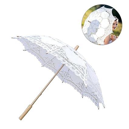 Lothver Elegant European Style Cutout Wedding Bridal Umbrella Decoration Handmade Lace Parasol Custom Made