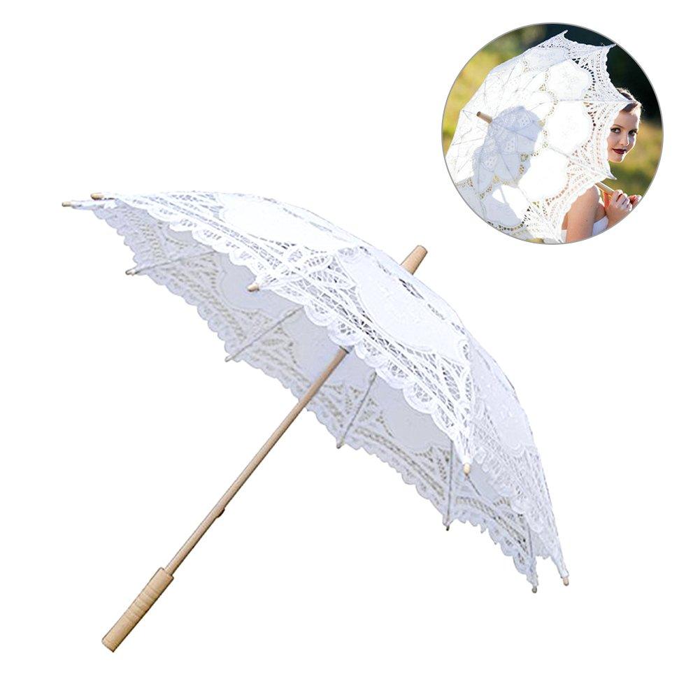 European Style Cutout Wedding Umbrella Handmade Lace Parasol Umbrella Custom-made Gift Umbrella (White)