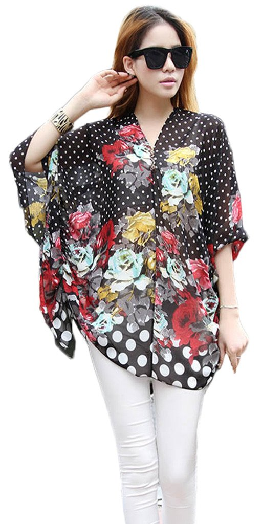 Toyobuy V Neck Chiffon Floral Loose Flowy Cover Up Blouse Top Black XL