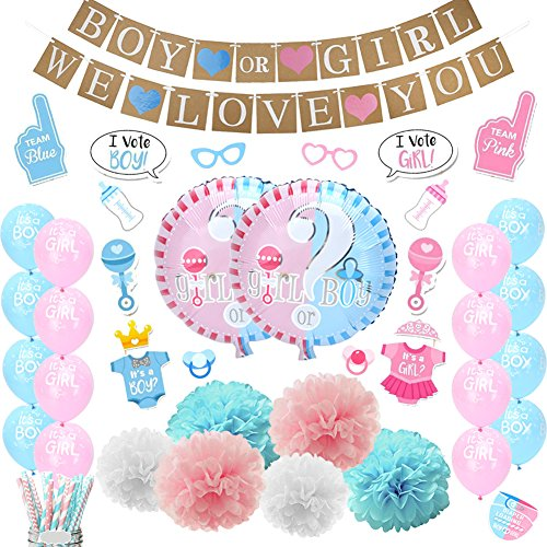 LUCK COLLECTION Baby Shower Party Decorations Boy or Girl Gender Reveal Party Supplies with Photo Booth Props 84 Pack