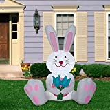 Home Accents Holiday Inflatable Easter Bunny Flowers LED 5 Feet