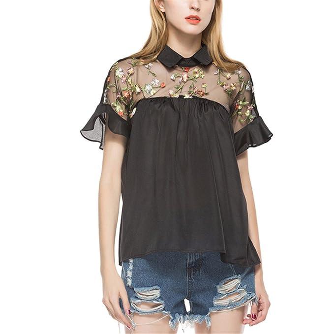 Tops de Malla de Bordado Floral Tops de Verano de Moda de Las Mujeres Camisa Elegante de la Vendimia Top Blusa de Manga de la Colmena de Lazo de Lazo: ...