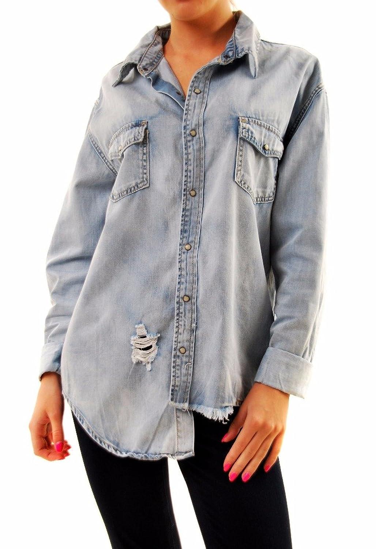 One Teaspoon Women's She Wolfe Liberty Shirt Denim Light Blue Size S