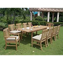 """Clearance 11 Pc Grade-A Teak Wood Dining Set - 94"""" Rectangle Table, 8 Armless and 2 Osborne Arm/ Captain Chairs #WFDSOSc"""