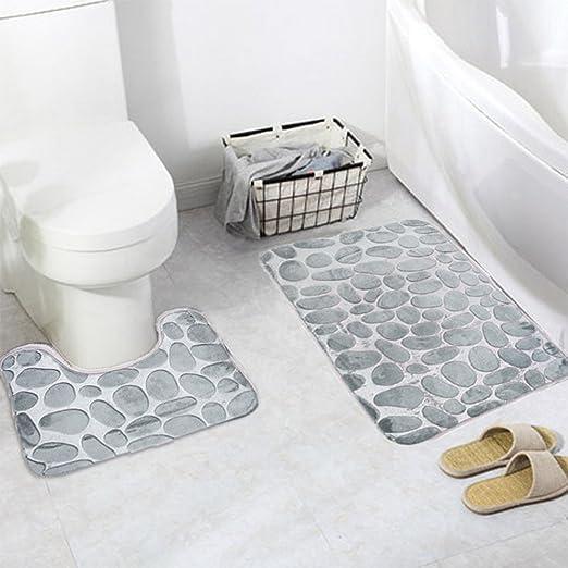 Nouveau Tapis de bain Set antidérapant Tapis Socle Tapis de mousse à mémoire de bains Pebble