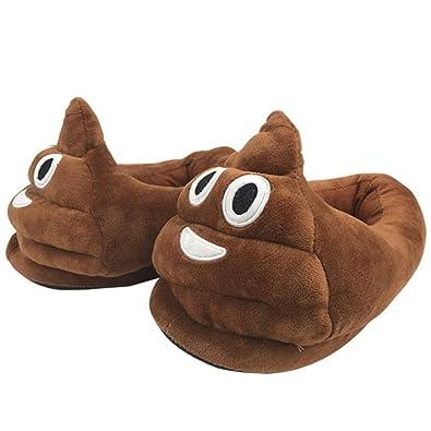 Amazon com | EDOBLUE Poop Emoji Slippers Plush Fluffy House Shoes