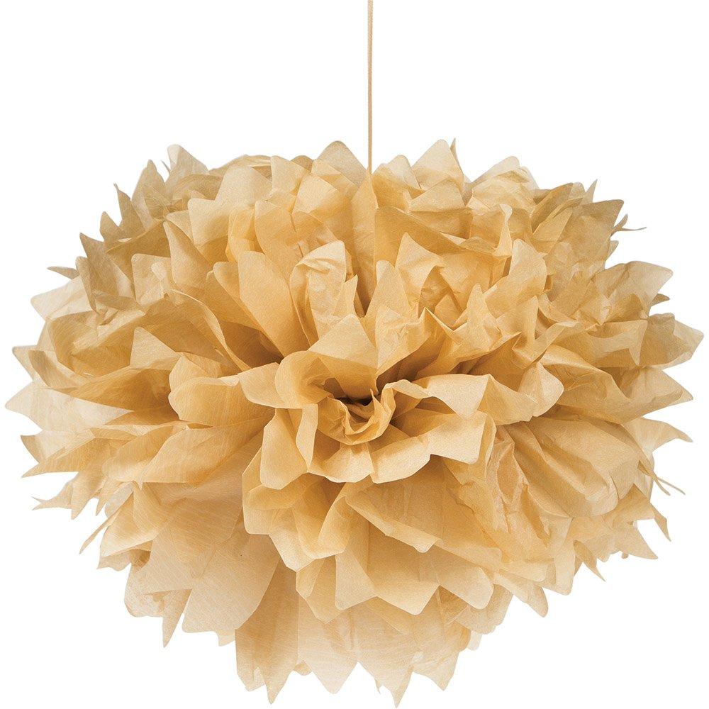 Creative Converting 317608 18-Count Tissue Pom Fluffy Balls 16-Inch, Kraft Paper Brown,